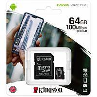 Kingston Canvas Select Plus SDCS2 - Muistikortti 64GB 100MB/s UHS-I Micro SD & SD-Adapteri